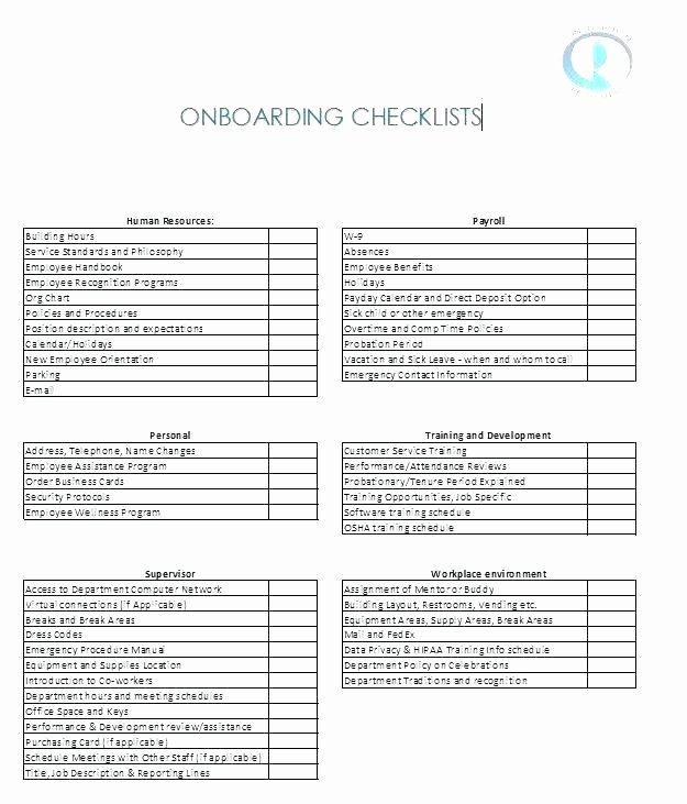 New Hire Checklist Template Excel New New Hire Onboarding Checklist Template