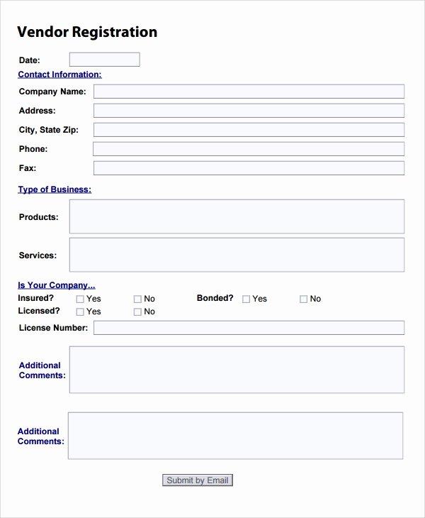 New Vendor form Template Best Of Sample Vendor Registration form 8 Documents In Word Pdf