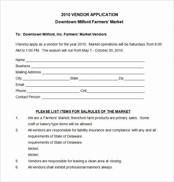 New Vendor form Template Elegant 15 Application Templates Free Sample Example format
