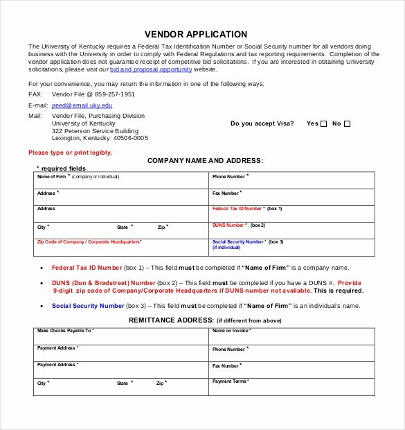 New Vendor form Template Fresh Vendor Application Template – 9 Free Word Pdf Documents
