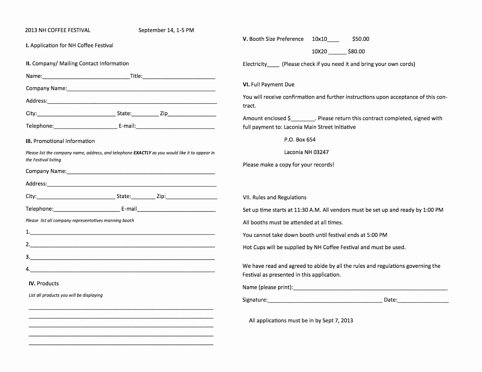 New Vendor form Template Inspirational Laconia Main Street New Hampshire Coffee Festival