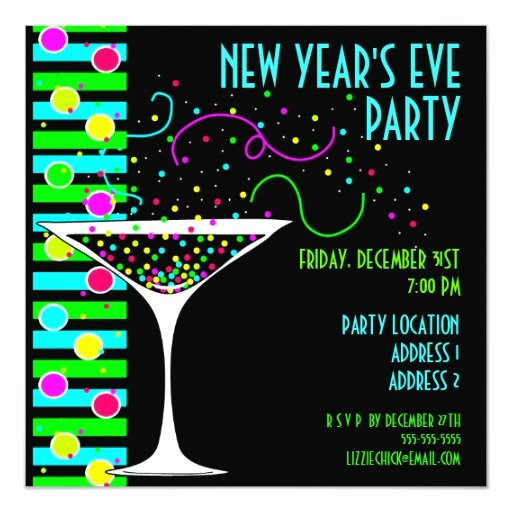 New Years Eve Invitations Templates Awesome New Years Eve Party Confetti Cocktail Invitation