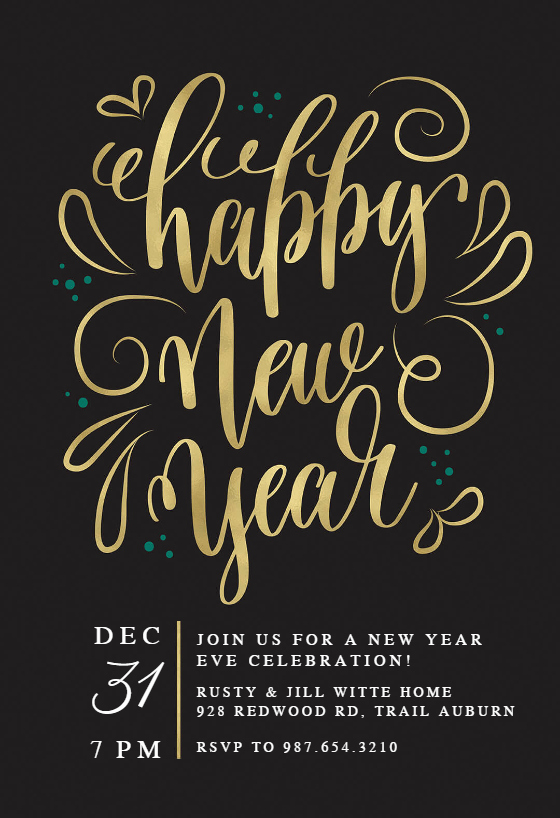 New Years Eve Invitations Templates Awesome New Years Swirls New Year Invitation Template Free