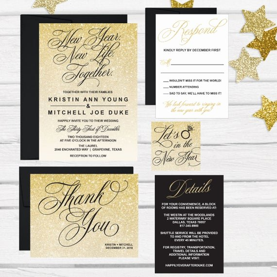 New Years Eve Invitations Templates Inspirational Elegant New Years Eve Wedding Invitation Template Glitter
