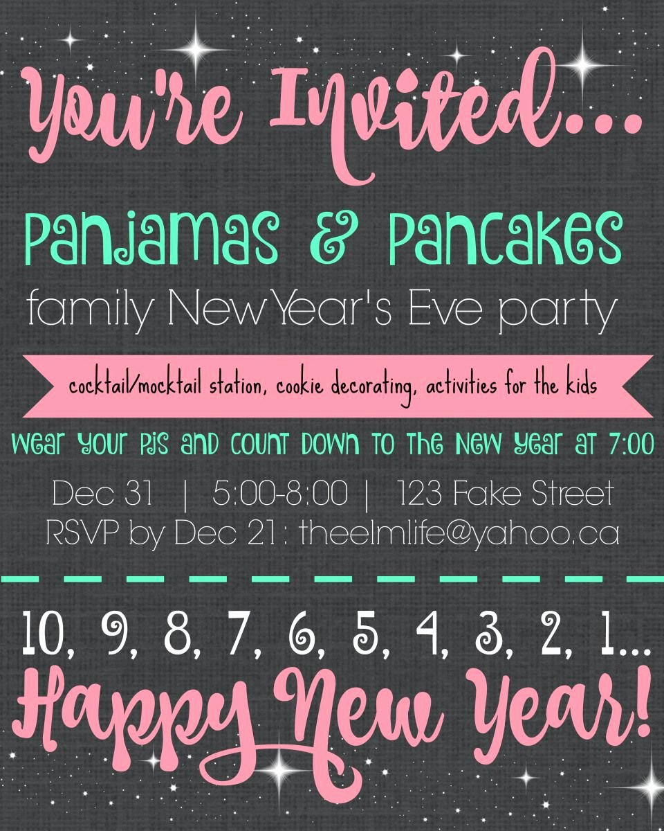 New Years Eve Invitations Templates Lovely Pajamas & Pancakes Family New Year S Eve Party Invitation