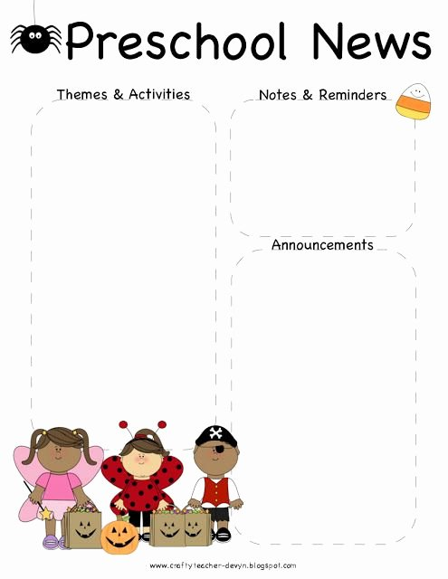 Newsletter Template for Preschool Awesome October Halloween Preschool Newsletter Template
