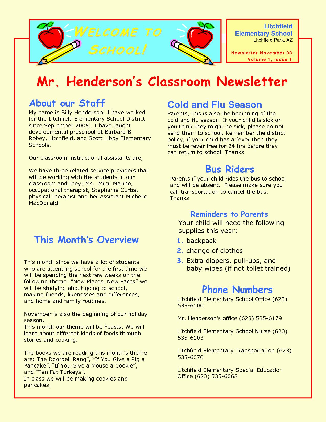 Newsletter Template for Preschool Beautiful Preschool Newsletter Samples