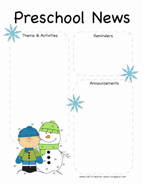 Newsletter Template for Preschool Beautiful Preschool Winter Newsletter Template