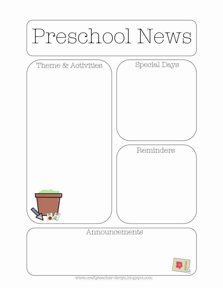 Newsletter Template for Preschool Best Of Newsletter Templates