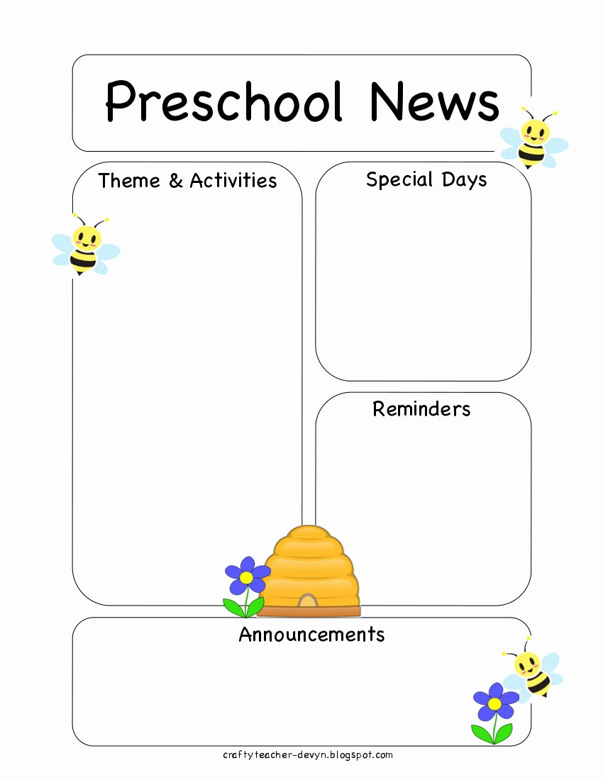 Newsletter Template for Preschool Best Of Preschool Bee Newsletter Template