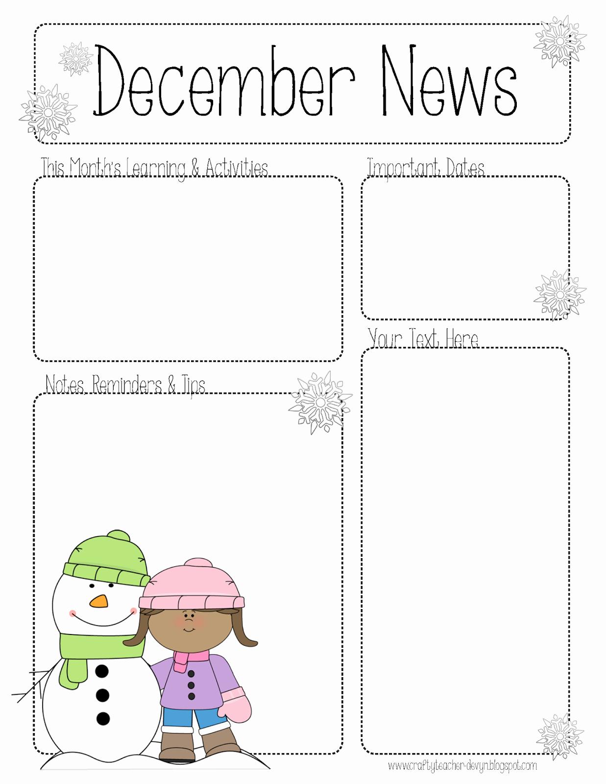 Newsletter Template for Preschool Elegant December Newsletter for All Grades Preschool Pre K