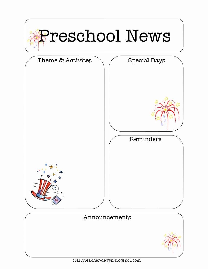 Newsletter Template for Preschool Elegant July Preschool Newsletter Template