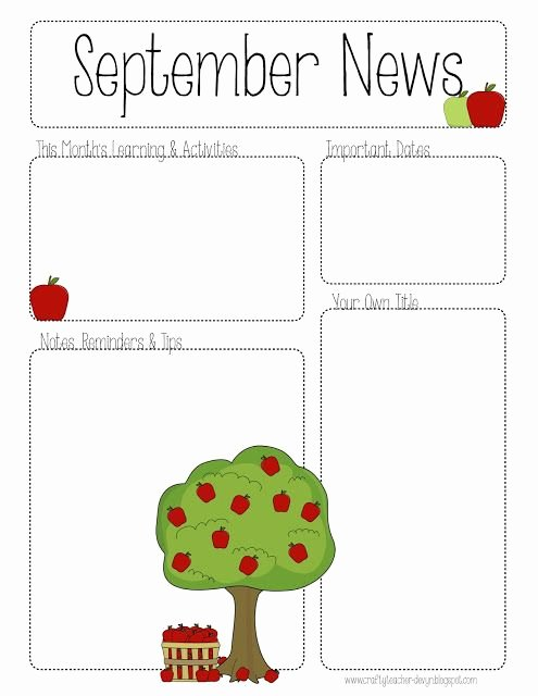 Newsletter Template for Preschool Elegant September Printable Newsletter All Grades
