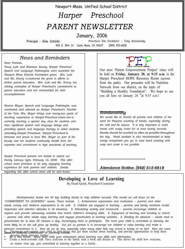 Newsletter Template for Preschool Fresh 16 Preschool Newsletter Templates Easily Editable and