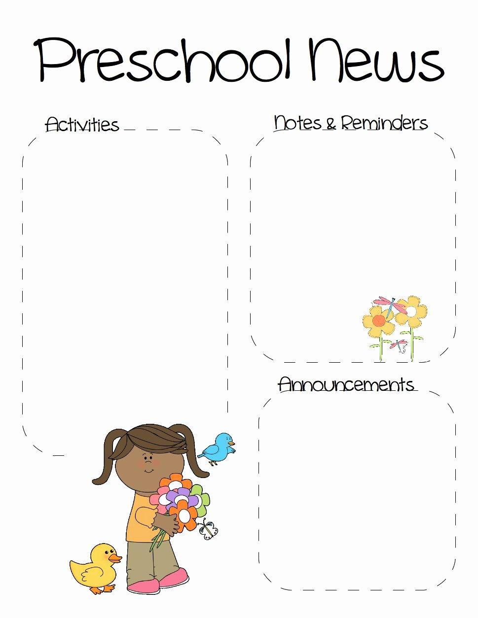 Newsletter Template for Preschool Inspirational Spring Preschool Newsletter Template