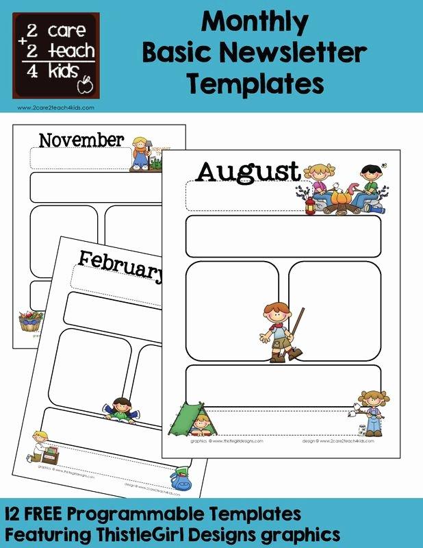 Newsletter Template for Preschool Lovely Monthly Templates Calendars Pinterest