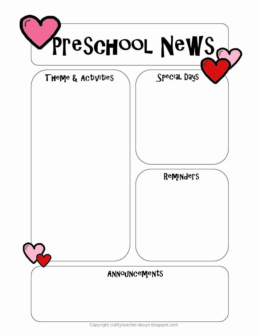 Newsletter Template for Preschool Lovely Newsletter Templates