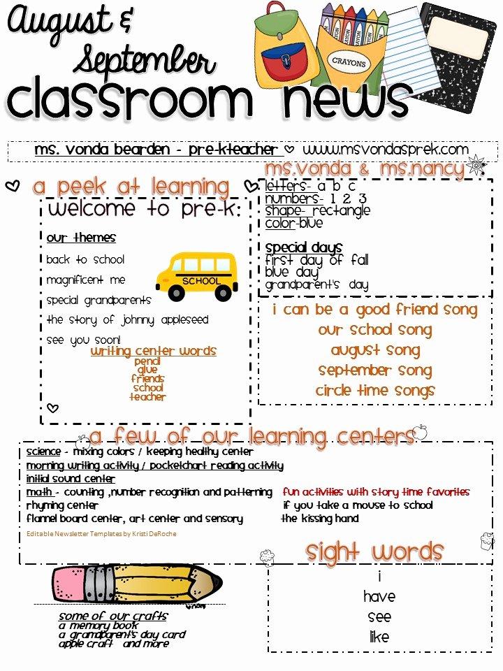 Newsletter Template for Preschool Luxury August and September Newsletter 2016