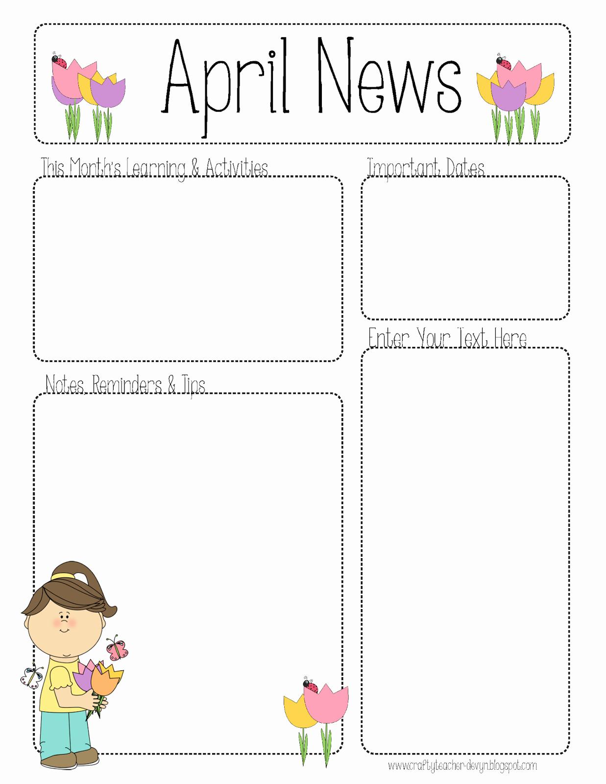 Newsletter Template for Preschool New April Newsletter for All Grades