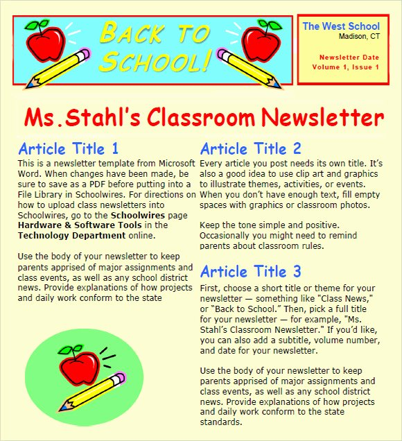 Newsletter Templates for Google Docs Beautiful Sample Classroom Newsletter 5 Documemts In Pdf Word