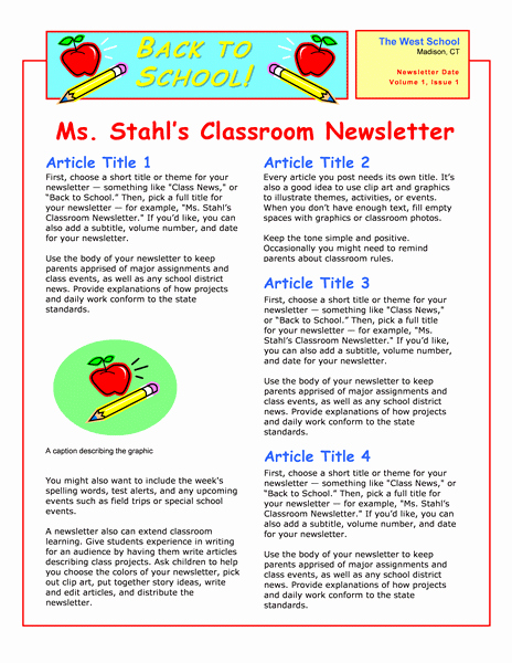 Newsletter Templates Google Docs Fresh Love This Template In Microsoft Word for A Back to School