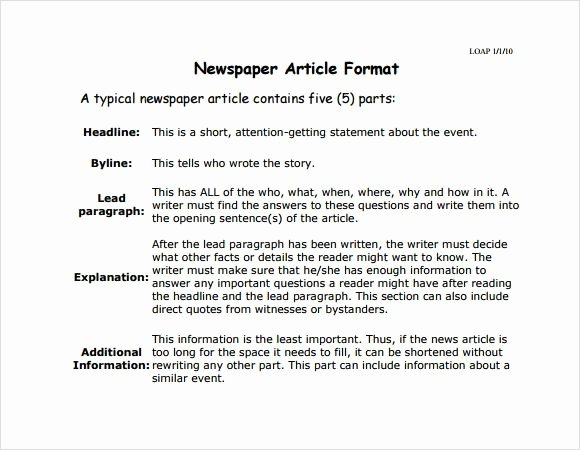 Newspaper Article format Template Elegant Newspaper Article format
