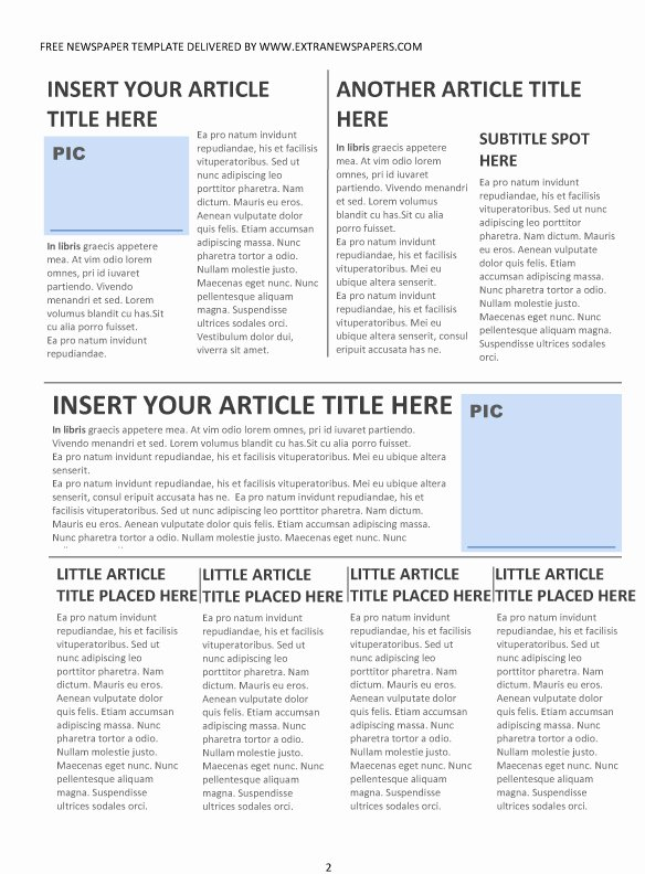 Newspaper Article format Template Inspirational Free Newspaper Template Pack for Word Perfect for School