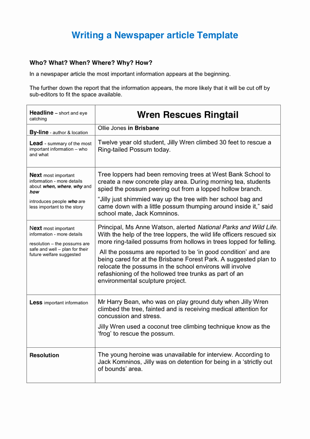 Newspaper Article format Template New Writing A Newspaper Article Template In Word and Pdf formats