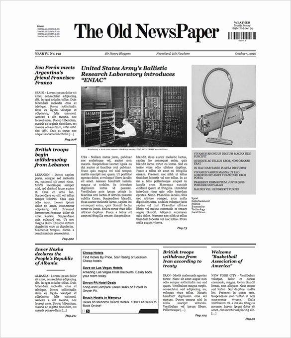 Newspaper Template for Microsoft Word Fresh Free Newspaper Template 10 Blank Google Docs Word
