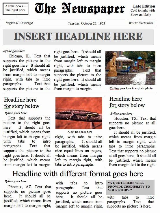 Newspaper Template for Microsoft Word Fresh Front Page Newspaper Template Ms Word Document