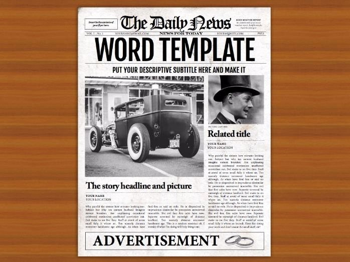 Newspaper Template for Microsoft Word New Microsoft Word Newspaper Template for Teachers and