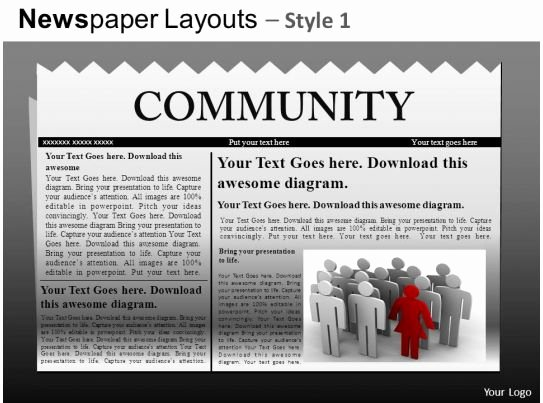 Newspaper Template for Ppt Awesome Newspaper Layouts Style 1 Powerpoint Presentation Slides