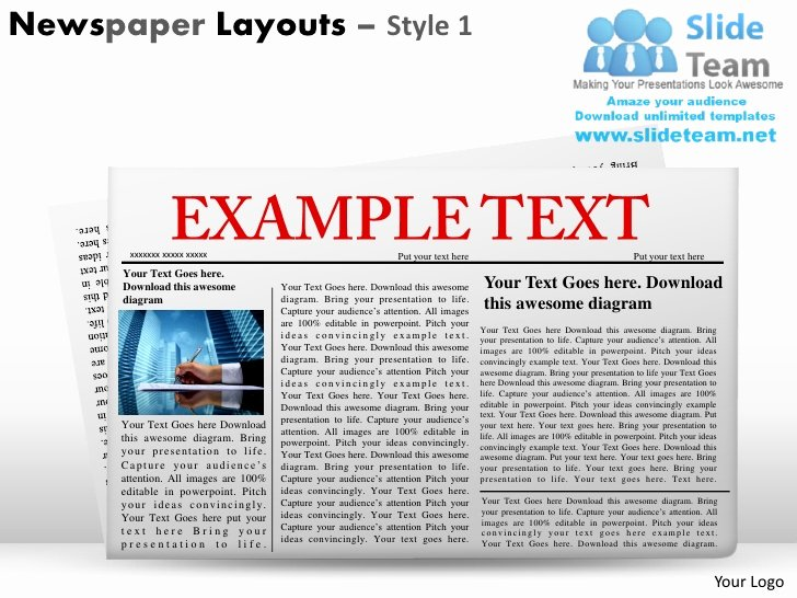 Newspaper Template for Ppt Lovely Newspaper Layouts Style 1 Powerpoint Presentation Slides