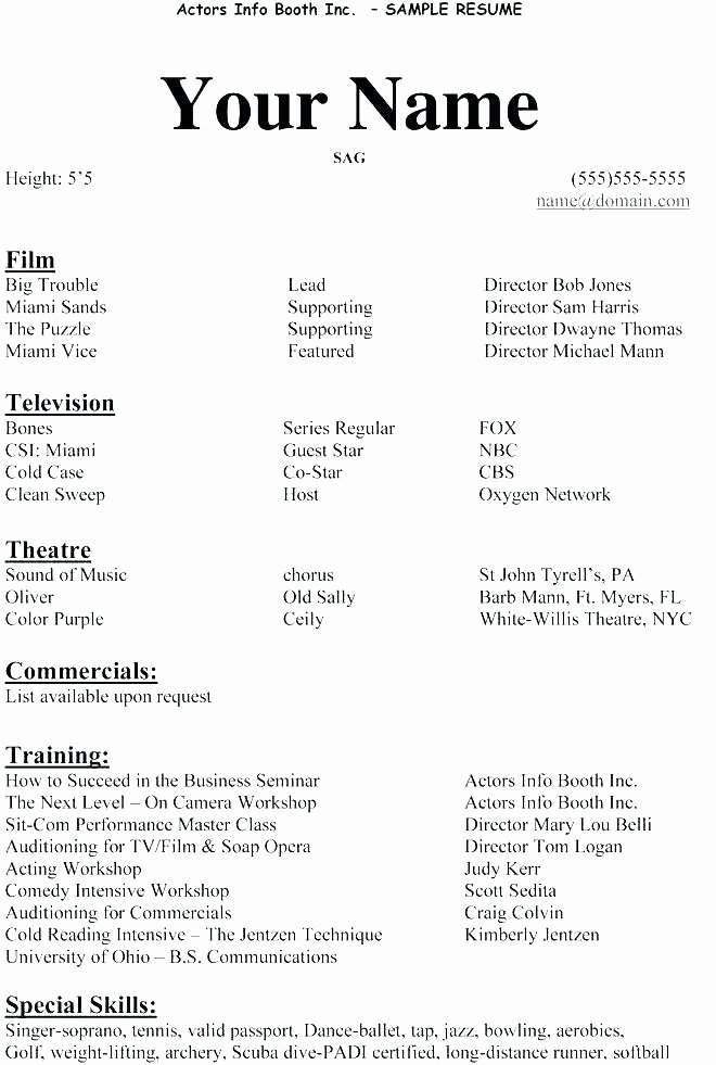 No Experience Resume Template Elegant Example Actor Resume Sample Resume for Beginners