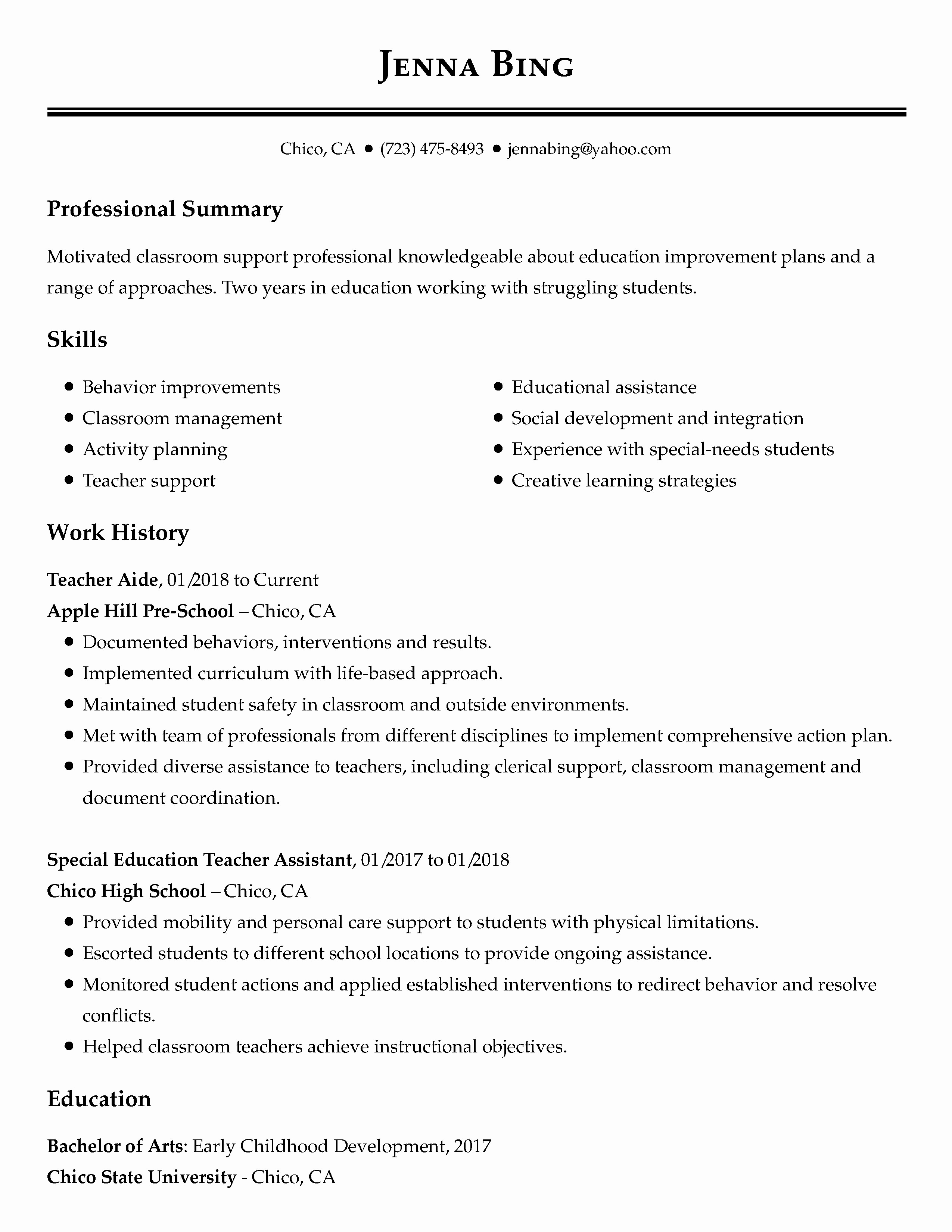 No Experience Resume Template New View 30 Samples Of Resumes by Industry & Experience Level