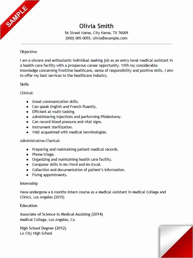 No Experience Resume Template Unique Entry Level Medical assistant Resume with No Experience