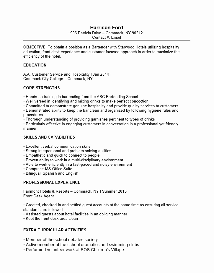 No Experience Resume Template Unique Free Bartender No Experience Entry Level Resume Template