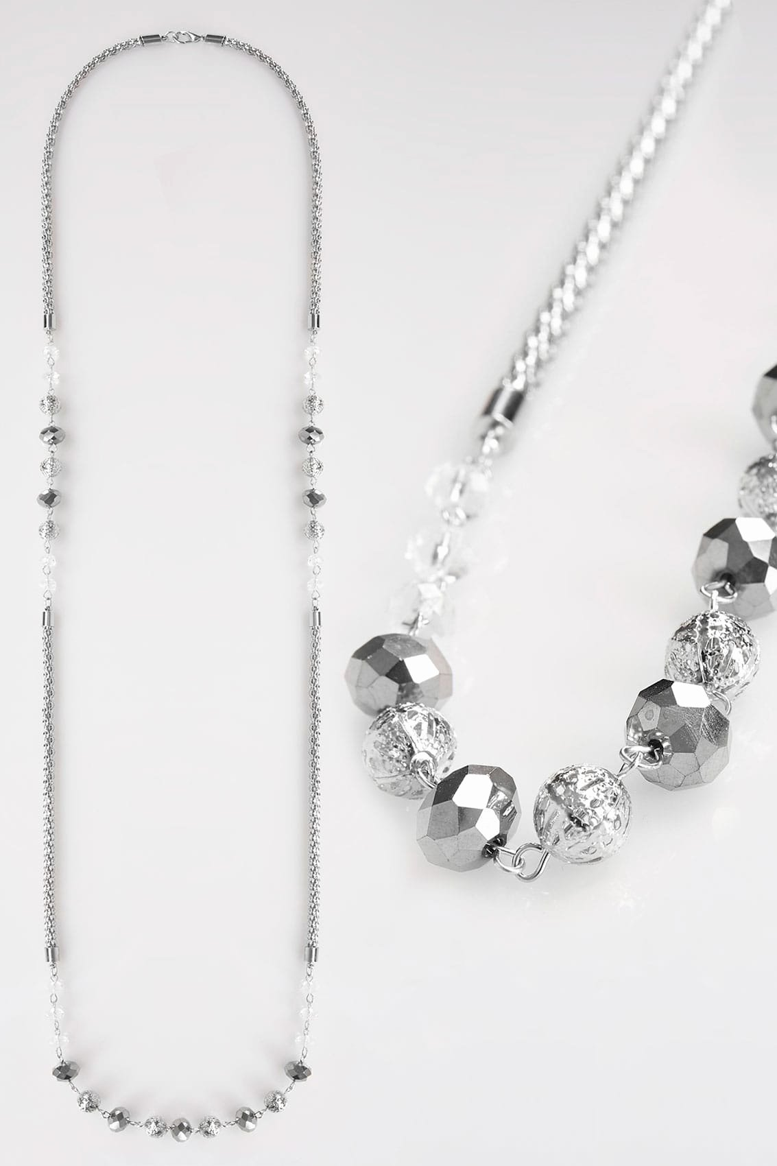 srebrny dugi naszyjnik z koralikami p