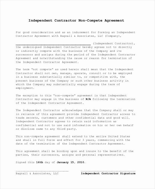 Non Compete Agreement Template Free Awesome Non Pete Agreement 11 Free Word Pdf Documents