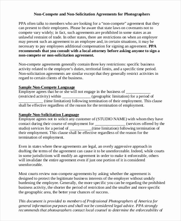 Non Compete Agreement Template Free Awesome Standard Non Pete Agreement 11 Free Word Pdf