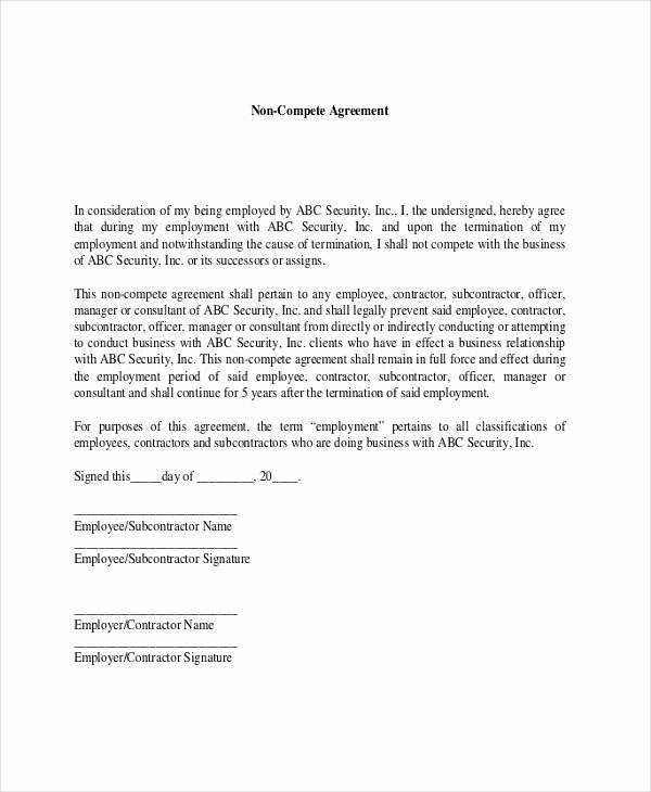 Non Compete Agreement Template Free Beautiful Contractor Non Pete Agreement – 9 Free Word Pdf