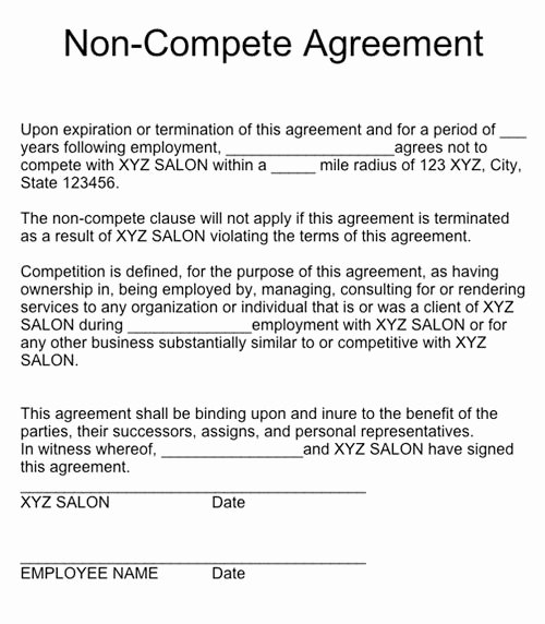 Non Compete Agreement Template Free Best Of Q & A Non Pete Agreements Nails Magazine