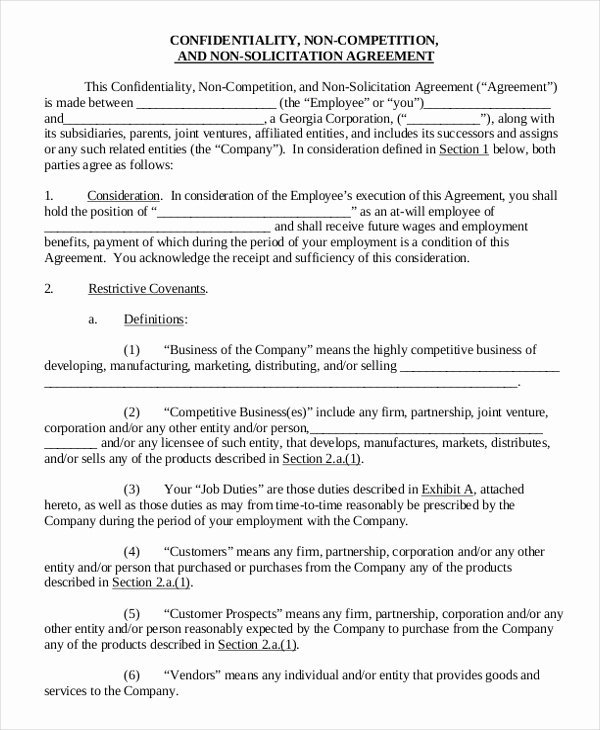Non Compete Agreement Template Free Fresh Employee Non Pete Agreement – 10 Free Word Pdf
