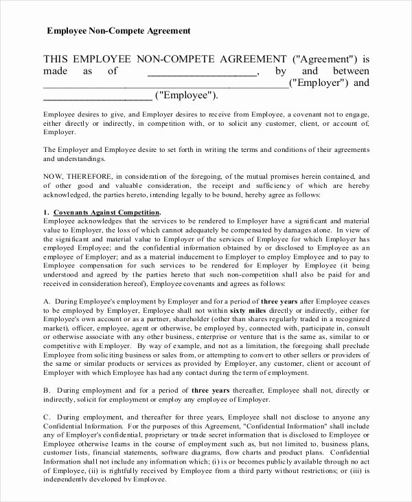 Non Compete Agreement Template Free Inspirational 11 Employee Non Pete Agreement Templates Free Sample