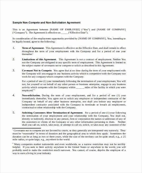 Non Compete Agreement Template Free Luxury 15 Non Pete Agreements Free Word Pdf format