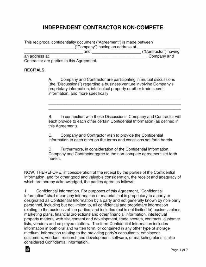 Non Compete Agreement Template Free Luxury Independent Contractor Non Pete Agreement Template