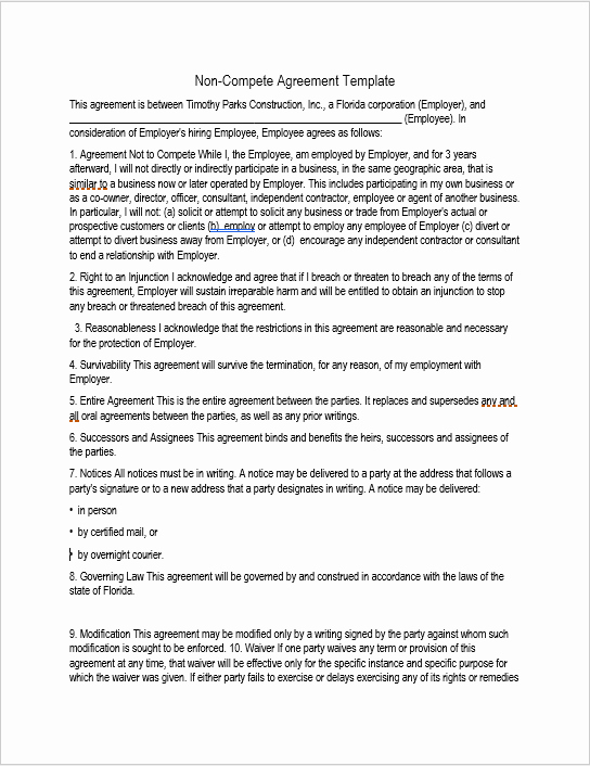 Non Compete Agreement Template Free New 37 Free Non Pete Agreement Templates Ms Word