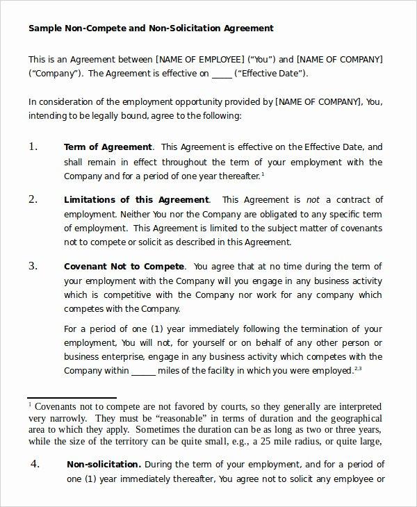 Non Compete Agreement Template Free New Non Pete Agreement Template 12 Free Word Pdf format