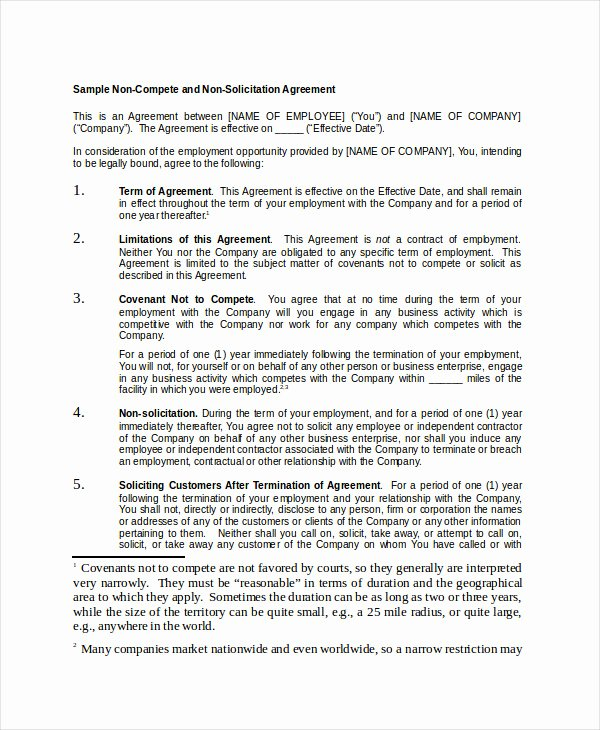 Non Compete Agreement Template Free Unique Non Pete Agreement 11 Free Word Pdf Documents