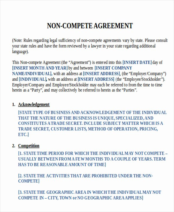 Non Compete Agreement Template Word Beautiful 14 Sample Word Non Pete Agreements